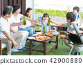 Three generations family, meal, barbecue, toast 42900889