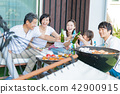 Three generations family, meal, barbecue, toast 42900915