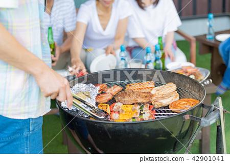 三代家庭,餐,燒烤,夏天 42901041