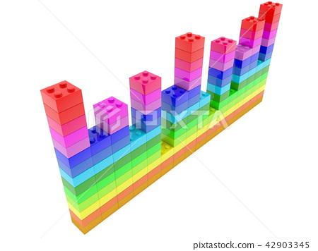 Top view on diagram  built from toy bricks in vari 42903345
