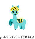 Cute cartoon llama icon 42904459