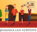 Character of smiling hotel staff flat gradient composition with receptionist, waiter, doorman and 42905045