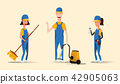 Cleaning service staff smiling cartoon characters isolated on yellow background. Men and women 42905063