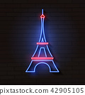Eiffel tower in neon light on brick 42905105