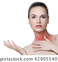 Woman with sore throat showing empty copy space 42905540