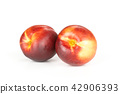 Ripe deep red nectarine isolated on white 42906393