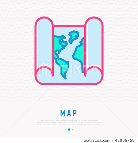 Paper world map thin line icon 42906769