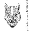 Portrait of wolf. Head and of a wild animal. Angry roar of a predator. Dog face. Badge or emblem 42907580