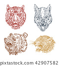 The face of brown grizzly bear, leopard and jaguar. Portrait of the wolf. Jaws of the tiger. Head of 42907582
