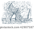 Rock in the sea. Vintage landscape. Sailing ship at the stone mountain in the ocean. Golden Gate 42907587