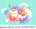 Vector - lovely pets with flowers vector illustration 008 42907891