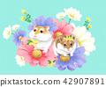 動物 可愛 花朵 42907891