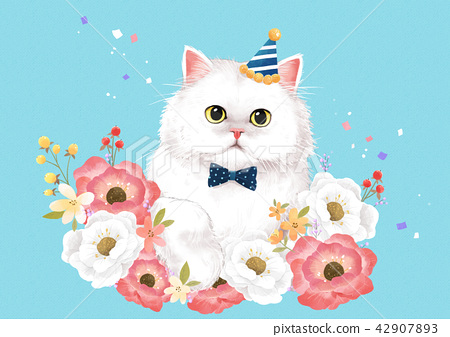 Vector - lovely pets with flowers vector illustration 006 42907893