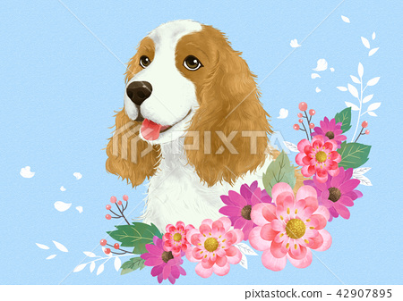Vector - lovely pets with flowers vector illustration 004 42907895