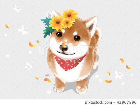 Vector - lovely pets with flowers vector illustration 003 42907896