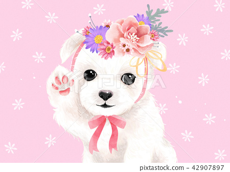 Vector - lovely pets with flowers vector illustration 002 42907897
