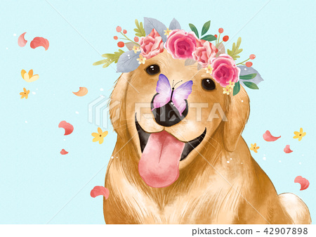 Vector - lovely pets with flowers vector illustration 001 42907898