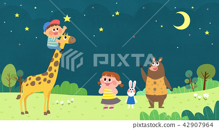 Vector - Children's dreams of a fairytale land, they living in a fairy story illustration 019 42907964