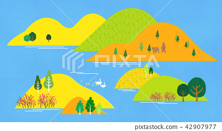 Vector - a lovely show of springtime. greenery scenes in spring. 004 42907977