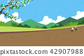 Vector - Natural scenery, spring, summer, fall and winter. Four seasons vector illustration 009 42907988