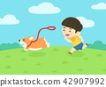 Vector - child and pet, have become a first good friend each other. 002 42907992