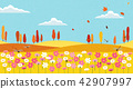 Vector - Natural scenery, spring, summer, fall and winter. Four seasons vector illustration 014 42907997