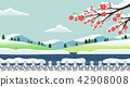 Vector - Natural scenery, spring, summer, fall and winter. Four seasons vector illustration 001 42908008