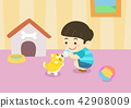 Vector - child and pet, have become a first good friend each other. 003 42908009