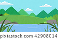 Vector - Natural scenery, spring, summer, fall and winter. Four seasons vector illustration 003 42908014