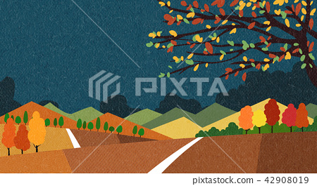 Vector - Natural scenery, spring, summer, fall and winter. Four seasons vector illustration 016 42908019