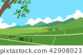 Vector - Natural scenery, spring, summer, fall and winter. Four seasons vector illustration 007 42908023