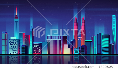 Vector - Urban City Nightscape. illustration with neon glow and vivid colors. 012 42908031