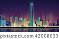 Vector - Urban City Nightscape. illustration with neon glow and vivid colors. 011 42908033