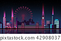 Vector - Urban City Nightscape. illustration with neon glow and vivid colors. 006 42908037
