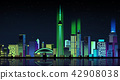 Vector - Urban City Nightscape. illustration with neon glow and vivid colors. 005 42908038