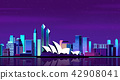 Vector - Urban City Nightscape. illustration with neon glow and vivid colors. 003 42908041