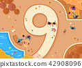Vector - Top view of streets and beach side. in the shape of numbers flat style illustration. 009 42908096