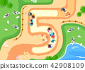 Vector - Top view of streets and beach side. in the shape of numbers flat style illustration. 005 42908109