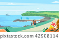 Vector - Beautiful Spring Landscape in Flat Design Style. look around the tourist attractions in Jeju, Korea. 012 42908114