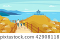 Vector - Beautiful Spring Landscape in Flat Design Style. look around the tourist attractions in Jeju, Korea. 011 42908118