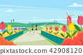 Vector - Beautiful Spring Landscape in Flat Design Style. look around the tourist attractions in Jeju, Korea. 002 42908120