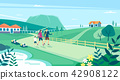 Vector - Beautiful Spring Landscape in Flat Design Style. look around the tourist attractions in Jeju, Korea. 007 42908122