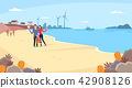 Vector - Beautiful Spring Landscape in Flat Design Style. look around the tourist attractions in Jeju, Korea. 008 42908126