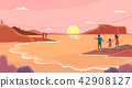 Vector - Beautiful Spring Landscape in Flat Design Style. look around the tourist attractions in Jeju, Korea. 003 42908127