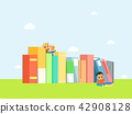 Vector - Children's Education book fair Illustration. Kids sitting on stack of giant books or beside it and reading. 004 42908128