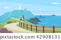 Vector - Beautiful Spring Landscape in Flat Design Style. look around the tourist attractions in Jeju, Korea. 006 42908131
