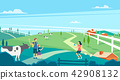 Vector - Beautiful Spring Landscape in Flat Design Style. look around the tourist attractions in Jeju, Korea. 001 42908132