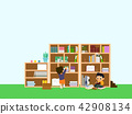 Vector - Children's Education book fair Illustration. Kids sitting on stack of giant books or beside it and reading. 007 42908134
