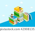 Vector - Children's Education book fair Illustration. Kids sitting on stack of giant books or beside it and reading. 002 42908135