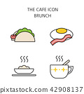 Vector - Coffee flat icon set. coffee equipment cafe with sweets retail service bakery. 045 42908137